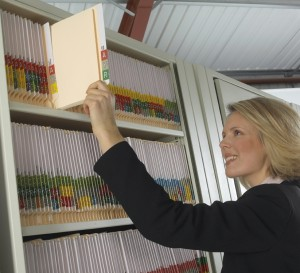 Female searching for colour coded files